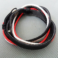 Real Leather and Multicolour Cotton Rope Woven by sevenvsxiao