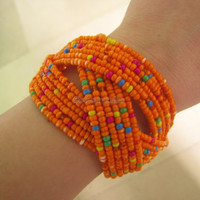 Multicolor Beaded Wrap Bracelet Rainbow Cuff by sevenvsxiao