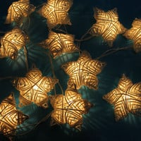 White colors rattan star wedding/Party String Lights 20 Lanterns