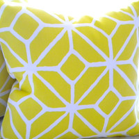Decorative Pillow cover - Trina Turk Yellow Trellis pillow cover, Lattice Print Citron 20&quot;