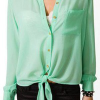 Green Sheer Tie Front Shirt