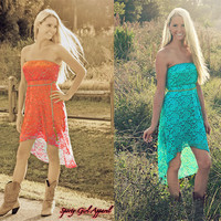 Western style coral or teal lace dress