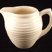 Vintage Uhl hand made ivory ringed pottery cream milk pitcher