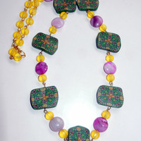 Beaded Necklace Polymer Clay