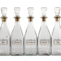Set of 6 Vintage Liquor Bottles