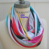 Rainbow Infinity Scarf Retro Scarfs Jersey Infinity  FREE SHIPPING  Multicolor Stripes Spring Scarf - By PIYOYO