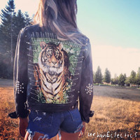 Black Spiked and Pinned Rockstar Tiger Jacket