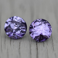 Crystal Stud Earrings : Amethyst Lilac Purple Metallic Faceted Stud Earrings, Simple, Minimal, February Birthstone