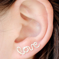 Love Earring, Sterling Silver Plated SINGLE Love Stud Earring, Cartilage, Word, Handwritten, Cursive, Affirmation, Ear Cuff, Artisan Tree
