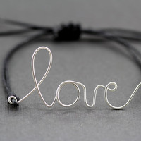 Love Bracelet : Original Silver Handwritten Cursive Wire 'LOVE' Bracelet with Black Cotton Cord, Adjustable Closure, Crimp Beads