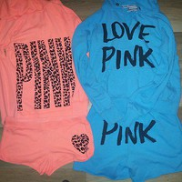  VICTORIAS SECRET PINK HOODIE N SHORT SETS SZ M 