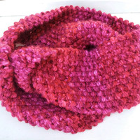 Knit Red Pink Cowl Mobius Infinity Scarf for Mothers Day