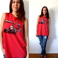 Honda Racing 70's 80's Red Sleeveless T-shirt Tank