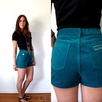 Vintage Velvet High Waisted Shorts Gloria Vanderbilt Sea Foam Green Size 12