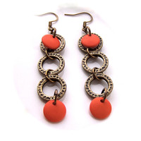 Orange Dangle Earrings, Neon, Retro 60s Style, Bright, Pop, Fun, Funky, Cool, Modern, Summer, Very Long Brass Hoop Earrings