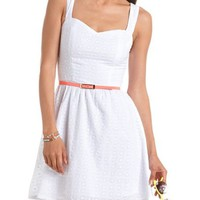 Neon Belt Eyelet Lace Dress: Charlotte Russe