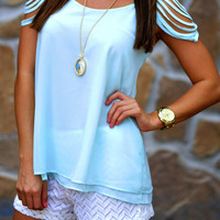 Cascading Waters Blouse: Pale Blue   Hope's