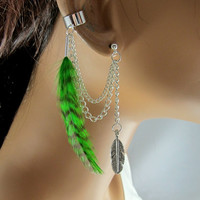 Silver Ear Cuff Forest Green Grizzly Feather Double Chain