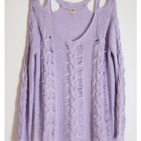 Open Shoulder Knit Lilac Sweater