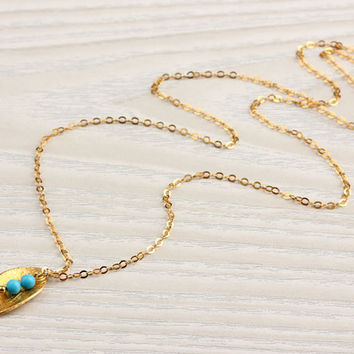 """Gold leaf necklace, turquoise necklace, wedding anniversary, gold vermeil, bridal necklace, tiny necklace, everyday simple, """"Halia"""" Necklace"""