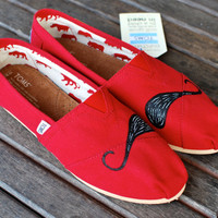 Red Canvas Black Mustache TOMS