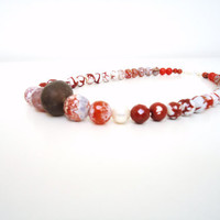 rust agate necklace beaded necklace agate jasper jade by BeaKez