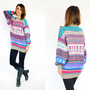 ethnic ECUADORIAN folk bohemian MULTICOLORED wool sweater JUMPER pullover, extra small-medium