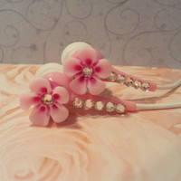 Sweet Hawaiian  Petal Flower Pink Earbuds With Swarovski Crystals
