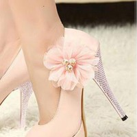 Ladies Fashion Flower Rhinestone High Heel Party Shoes