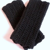 Black Shimmer Sparkle Ladies Fingerless Gloves Wristlets with Ruffle