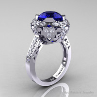 Edwardian 14K White Gold 3.0 Carat Blue Sapphire Diamond Engagement Ring, Wedding Ring Y404-14KWGDBS