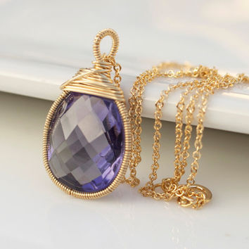 Amethyst necklace, Bezel Set Necklace, Gemstone Necklace, Purple Necklace, Bridal Jewelry