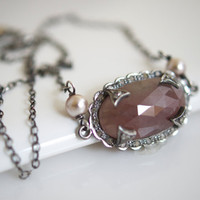 Bezel Set Faceted Pink Sapphire Necklace, Sapphire Pendant Necklace, Oxidized Silver Necklace