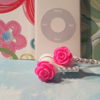 Pretty Hot  Hot Pink Rose Earbuds with Swarovski  crystals are back in stock