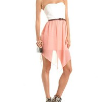 Belted Hanky Hem Chiffon Dress: Charlotte Russe