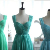 Blue Blush Green Chiffon Wedding Dress Bridesmaid Dress Prom Dress Sweetheart Open See Through Back with Cap Sleeves