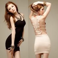 Sexy Slim Hollow flower Backless Mini Dress Skirt Clubwear Party elastic Women  