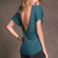 Embellished U-back Top