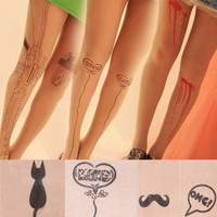 Stretchy Sexy Tattoo Pattern Temptation Pantyhose Tights Stockings Leggings