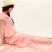 Feminine One Shoulder Layered Pink Chiffon Gown. Bridesmaid Long Dress