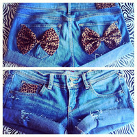Low rise leopard bow shorts  by AngeliqueMerici on Etsy