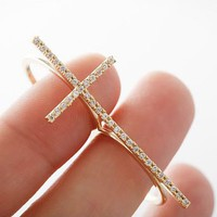 accessoryinlove  Rhinestone Double Finger Adjustable Cross Ring