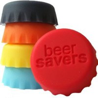Beer Saver Reusable Silicone Bottle Caps - Set of 6: Kitchen & Dining
