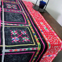 Ethnic Hmong Natural Indigo Batik Appliqued and Embroidered Table Runner