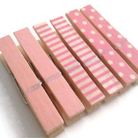 Mini Clothespin Magnets Pink Polka Dot Stripes Set of 6 Magnet Clips