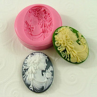 Victorian Lady Cameo Cabochon Flexible Silicone Mold/Mould (40mm) for Chocolate, Resin, Polymer Clay, Fondant  (240)