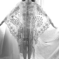 Ice Queen Silver Sequined Goddess White Embroidered Sequin Fringe Poncho Scarf Shawl Beach Cover up Butterfly Wings Cape Kaftan Tunic