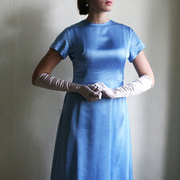 Sky Blue Silk Dress vintage 1960ies