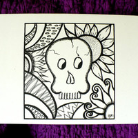 Alternative / Folk  - Skulls  - Dia de los Muertos / Day of the Dead Blank Blank Greeting Card w / envelope - Recycled Paper - IntricateKnot