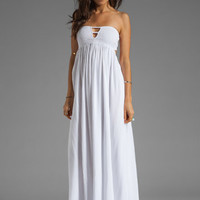 Indah Flamingo Smocked Bandeau Lined Maxi Dress in White from REVOLVEclothing.com